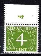 ANTILLES NEERLANDAISES 282** 4c Vert  Série Courante Chiffre