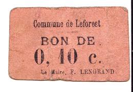 Bon De 10c COMMUNE DE LEFOREST 14-18 - Bons & Nécessité