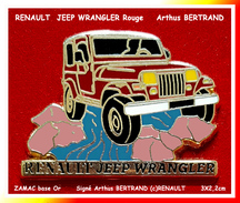 SUPER PIN´S RENAULT : SUPERBE JEEP WRANGLER Signé (c)RENAULT, Arthus BERTRAND, Format 3X2,2cm - Renault