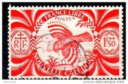 NEW CALEDONIA 1942 Free French Issue - Kagu - 1f.50 - Red  FU - Nuova Caledonia