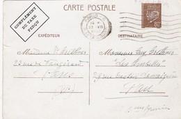 FRANCE C.P. ENTIER POSTAL PETAIN 0.80c- COMPLEMENT TAXE PERCU - OBLITERATION 23.7.1942 PARIS POUR PAU / 1 - 1921-1960: Modern Period
