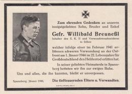 Andenken Eines Gefreiten Der An Der Ostfront 1944 An Einer Schweren Verwundung Gestorben Ist - 1939-45