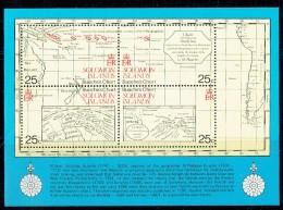1981 Ancient Maps Of The Solomon Islands  Souvenir Sheet Of 4 Different ** - Salomon (Iles 1978-...)