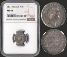 "MS63 1/2 Drx (1833) (type I) In Silver With ""ΟΘΩΝ... - Munten & Bankbiljetten"