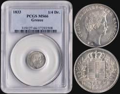 "MS66 1/4 Drx (1833) (Type I) In Silver With ""ΟΘΩΝ... - Munten & Bankbiljetten"