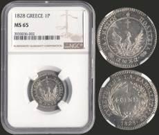 "MS65 1 Phoenix (1828) In Silver. Inside Slab By NGC ""MS 65"". In Our Oppinion Is The Best Known In Appearence.... - Munten & Bankbiljetten"