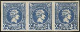 **/* 25l. Deep Indigo Blue In Strip Of 3, 1 Stamps U/m. (Hellas 77a). - Postzegels