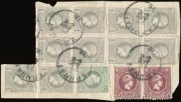 Δ Large Fragment With Mixed Franking Of Two Issues: 50l. + 10x1dr. Belgian Printing Plus 2x25l. Deep Violet... - Postzegels