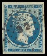 O 20l. Blue Used, Very Fine. (Hellas 5a). - Zonder Classificatie