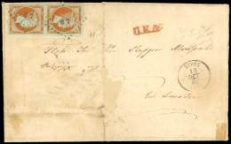 EL 1861 (October 10th) EL From Syros To Skiatho Franked With Paris Print 10l. Orange  In Vertical Pair Cancelled... - Postzegels