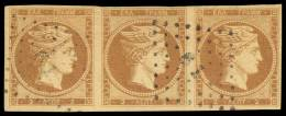 O 2l. Olive-bistre Used Strip Of Three, Very Fine And Scarce. (Hellas 2b). - Postzegels