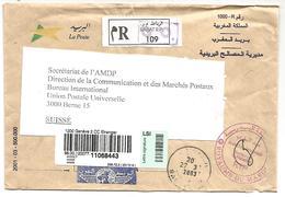 MAROC LETTRE EN FRANCHISE RECOMMANDEE POUR LA SUISSE 2003 - Marocco (1956-...)