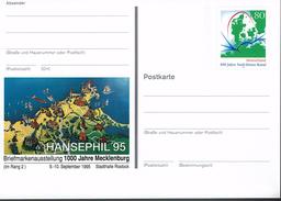 Deutschland 1995 - Postkarte - Hansephil 95 - Mecklenburg (Markenbild: Nord-Ostsee-Kanals) - Briefmarkenausstellungen