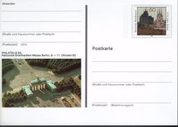 Deutschland 1992 - Postkarte - Philatelia Berlin (Markenbild: Erfurt - Dom, Severikirche) - Kirchen U. Kathedralen
