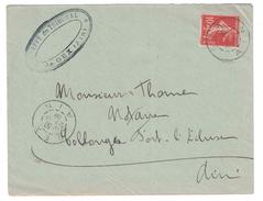 1908 - LETTRE AFFRANCHIE SEMEUSE 10c ROUGE CAD MANUEL GEX POUR COLLONGES AIN ENTETE GREFFE DU TRIBUNAL - 1877-1920: Semi Modern Period