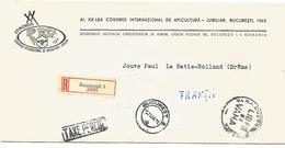 ROUMANIE LETTRE RECOMMANDEE EN TAXE PERCUE  SUR LETTRE AVION POUR LA FRANCE 1964 APICULTURE ABEILLE - Briefe U. Dokumente