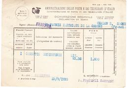 Déclaration En Douane De Ferrara à Chalon-sur-Saône (1933) - Italie
