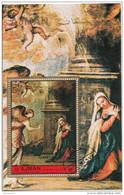 """Ajman 1972 """" Annunciazione """" Quadro Dipinto Da Tiziano Vecellio Preobliterato Painting Tableaux Perf."""