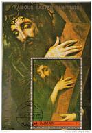 "394 Ajman 1972  "" Jesus With The Cross ""   Quadro Dipinto Da L. De Morales Nuovo Perf. Manierismo Paintings"