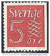 ZWEDEN 1957-1958 5 õre Rood Cijfertype II Driezijdig Tanding Links PF-MNH