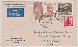 The Retreat Company Air Mail Letter Cover Travelled 1970 Yercaud To Italy B170510 - India