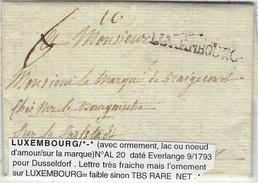 1793- Lettre De LUXEMBOURG  ( Avec Ornement )  D'EVERLANGE  Pour  Dusseldorf - Luxembourg