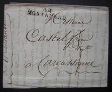 L'an 14 Montauban (Tarn Et Garonne) Marque Noire 44/ MONTAUBAN Sur Une Lettre Pour Carcassonne - 1801-1848: Précurseurs XIX