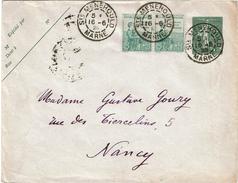 LCTN47/6- SEMEUSE LIGNEE 15c + AFFR.T COMPL ORPHELINS Ière EMISSION STE.MENEHOULD / NANCY JUIN 1923