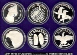 1989-1994 Birds Series Silver Piedfort Proof Coin Set In Presentation Case - Australie