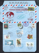 CONCORDE No.F.BVFF TOUR DU MONDE FLIGHT AEROGRAMME TIRAGE LIMITE 1à11 Doc. No. 6 AIR FRANCE TAHITI RIO + CONSEIL EUROPE - Concorde