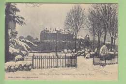 SABLE : Jour De Neige, Le Château Vu Du Square De L'Eglise .  2 Scans. Edition Malicot - Sable Sur Sarthe