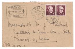 1948 - LETTRE CAD MANUEL COLLONGES AIN AFFRANCHIE YT 820 EN PAIRE LANGEVIN ENTETE RABUEL NOTAIRE - Marcofilie (Brieven)