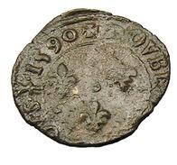 Double Tournois - Charles X - France - 1590 Dijon - (Henri IIII Au Nom De Charles X ) Cu - 2,61 Gr. - TB - - 987-1789 Monnaies Royales