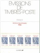 HB-P 102 Émissions De Timbres-Poste - Notices Philatéliques 1986 - Documents De La Poste