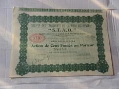 S.T.A.O. Transports De L´afrique Occidentale (capital 15 Millions) 1928 - Non Classés