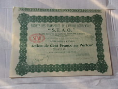 S.T.A.O. Transports De L´afrique Occidentale (capital 15 Millions) 1928 - Actions & Titres
