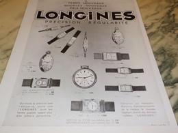 ANCIENNE PUBLICITE MONTRE LONGINES 1933 - Bijoux & Horlogerie