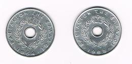 ) GRIEKENLAND 2 X 20  LEPTA  1954/1969 - Grèce