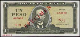 CUBA 1 PESO 1969 SPECIMEN - Cuba