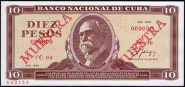 CUBA 10 PESOS 1988 SPECIMEN MUESTRA - Cuba