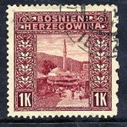 BOSNIA & HERZEGOVINA 1906 1 Kr. Perforated 12½:6½:12½:12½ Used  Michel 42G, SG 199F Cat £65 - Bosnia Herzegovina