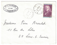 1969 - TIMBRE YT 1558 LE SAGE SEUL SUR LETTRE CAD COLLONGES AIN POUR LONS LE SAUNIER ENTETE RABUEL NOTAIRE - 1961-....