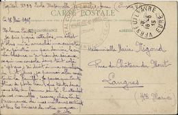CPA - CACHET HOPITAL COMPLEMENTAIRE N°33 - VERNEUIL/s AVRE -OBLIT. 18/5/1915-VENANT D'UN POILU SUR SON ETAT DE SANTE - 1914-18