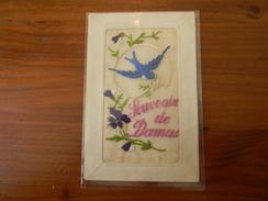 Damas (Syrie) Souvenir De Damas Carte Brodée Tissu Hirondelle Et Fleurs (Carte Avec Adresse à Beyrouth - Liban) - Syrie