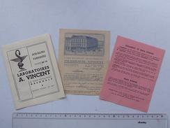GRENOBLE Publicité 1952 Pharmacie VINCENT: Lot 3 Documents = Mini-catalogue + Commande + Règlement - Publicités