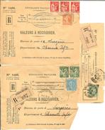 HB-P 007 FRANCE 6 Dessus D'enveloppes Valeurs à Recouvrer 1937-39 - Belle Cote, Départ à Moins D'1€ !!! - Marcophilie (Lettres)