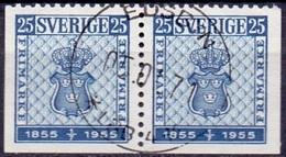 ZWEDEN 1955 25öre Paar Boven Getand Postzegels GB-USED