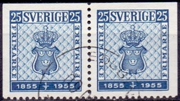 ZWEDEN 1955 25öre Paar Onder Getand Postzegels GB-USED
