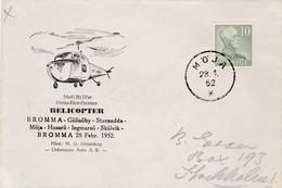 Lettre Par Hélicoptère Cachet Spécial  MOJA Stockholm 30/1/1952