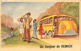 Ref T908-  Carte Fantaisie -illustrateur -  Un Bonjour De Remich - Luxembourg -luxemburg - Bus -autobus -autocar - - Remich